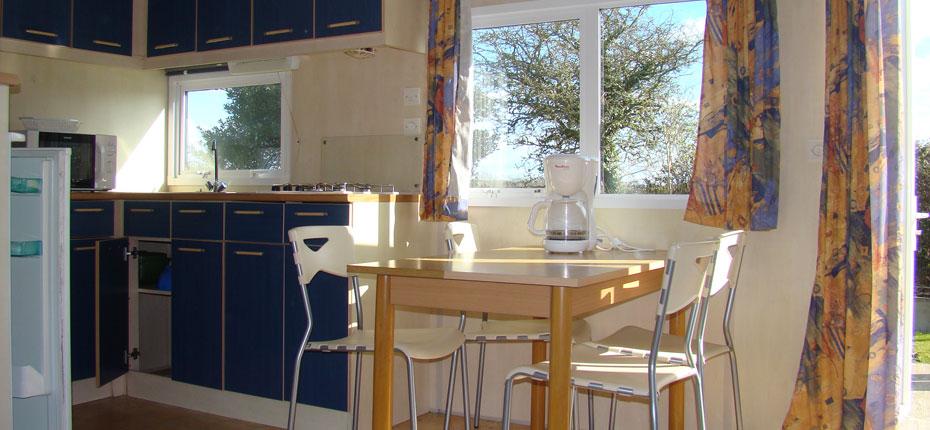 L'intérieur du mobil-home loft dans le Finistère