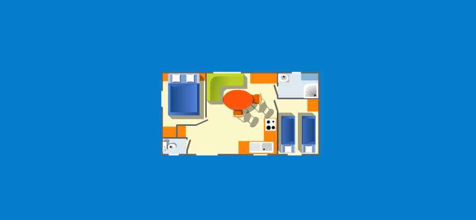 Le plan du mobil home oceane du camping à Camaret sur Mer
